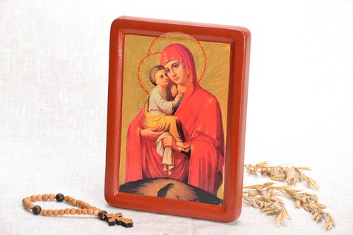 Reproduction of the icon on wood The Mother of God of Pochaev - MADEheart.com