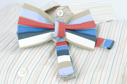 Striped cotton bow tie - MADEheart.com