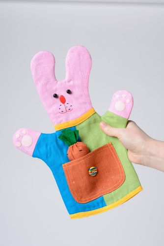 Bright colorful handmade hand puppet sewn of fabric pink rabbit - MADEheart.com