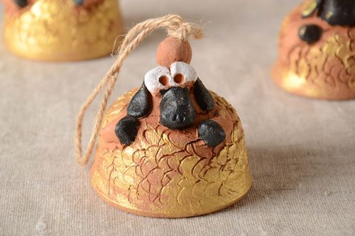 Handmade cute ceramic bell stylish interior decor unusual painted pottery - MADEheart.com