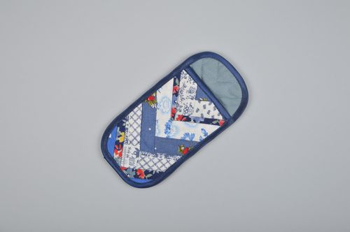 Handmade patchwork sunglasses cases sewn of cotton in blue color palette - MADEheart.com