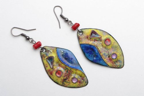 Handmade designer colorful copper dangling earrings coated with enamels Petals - MADEheart.com