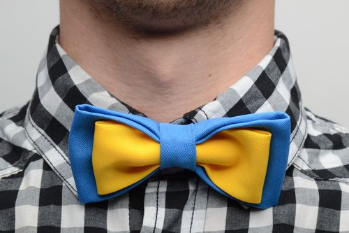 Handmade bow tie sewn of costume fabric in contrast combination of blue and yellow - MADEheart.com