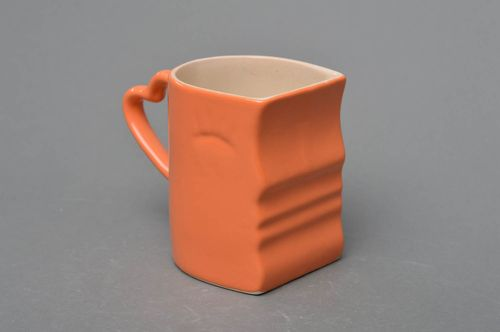 Orange porcelain handmade cup painted with colorful glaze Day decorative pottery - MADEheart.com