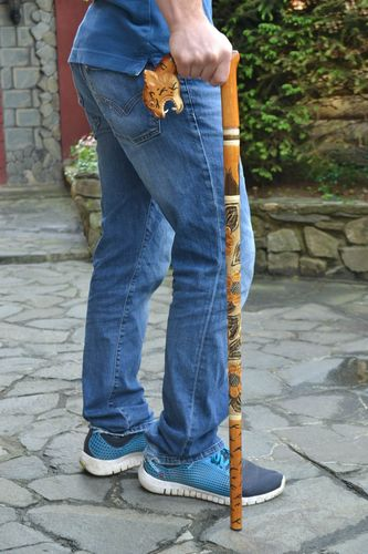 Handmade stylish wooden walking stick with art carving and tiger head handle  - MADEheart.com