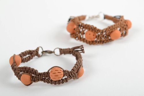 Set of 2 handmade woven bracelets wrist bracelets with ceramic beads gift ideas - MADEheart.com