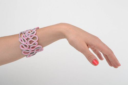Handmade pink soutache cord wide lacy bracelet with crystals for women   - MADEheart.com