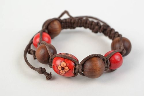 Handmade woven cotton cord bracelet with wooden beads - MADEheart.com