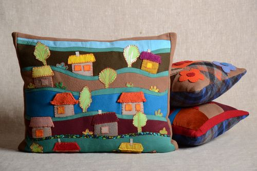 Bright handmade soft cushion with applique work for childrens room - MADEheart.com