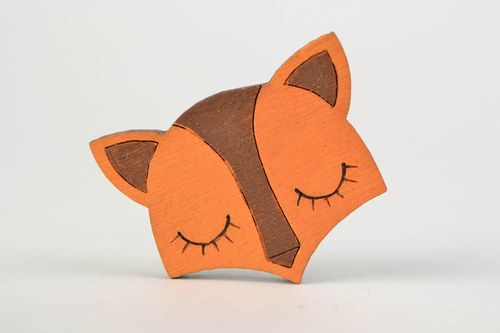 Beautiful handmade painted wooden childrens brooch in the shape of fox head - MADEheart.com