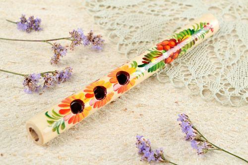 Handmade penny whistle unusual flute wooden souvenir decorative use only - MADEheart.com
