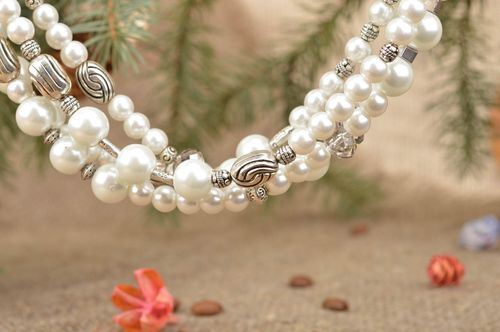 Handcrafted beautiful stylish necklace on metal chain with pearl like beads - MADEheart.com