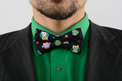 Black bow tie with owls  - MADEheart.com