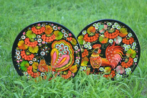 Decorative wall plates set of 2 handmade wood plates homemade home decor  - MADEheart.com