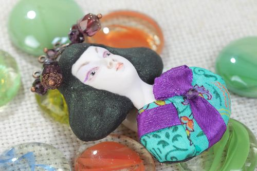 Handcrafted designer bright brooch made of polymer clay for women - MADEheart.com