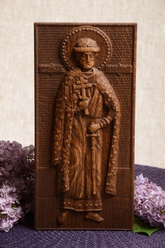 Handmade decorative panel carved wooden icon with St Dmitry Donskoy gift ideas - MADEheart.com