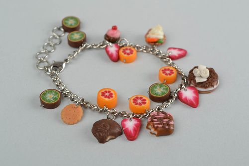 Handmade bracelet made of polymer clay on chain with decorative sweets - MADEheart.com