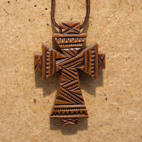 Pectoral cross on a leather cord - MADEheart.com