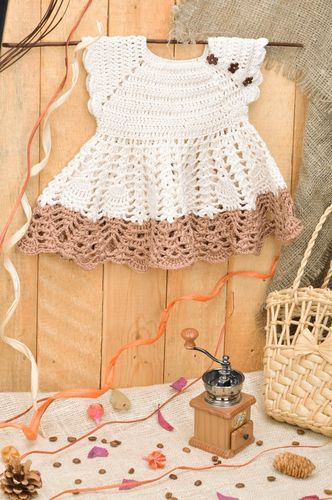 Handmade baby girl lace dress crocheted of acrylic threads beige and brown - MADEheart.com