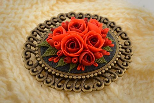 Handmade volume festive vintage brooch with cameo in shape of red roses - MADEheart.com