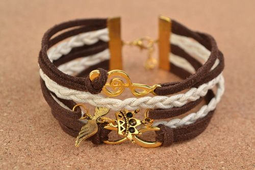 Stylish handmade woven suede cord bracelet with charms - MADEheart.com