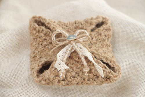 Handmade unusual wedding ring bearer pillow crocheted of jute with lace  - MADEheart.com