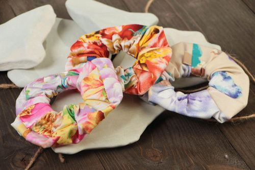 Colorful handmade designer fabric hair ties set 3 pieces  - MADEheart.com