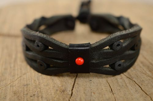 Black genuine leather wrist bracelet  - MADEheart.com