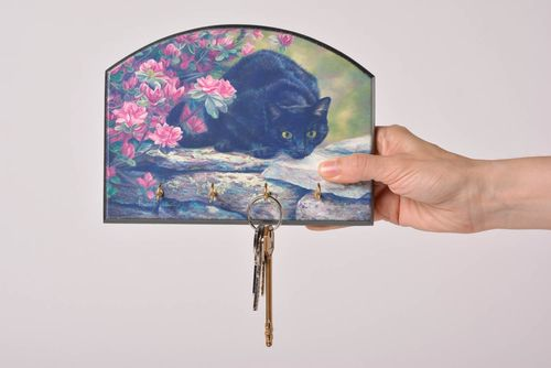 Beautiful interior handmade key holder with decoupage made of MDF with 4 hooks - MADEheart.com