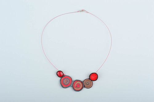 Leather necklace handmade gift stylish present unusual gift ladies jewelry  - MADEheart.com