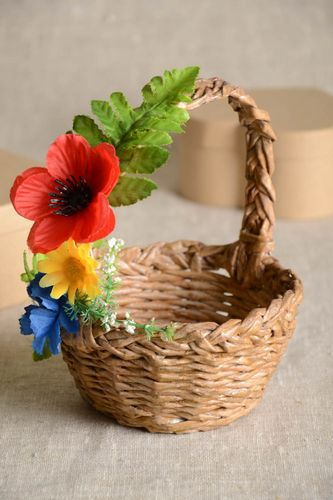 Unusual handmade woven paper basket newspaper basket interior decorating - MADEheart.com