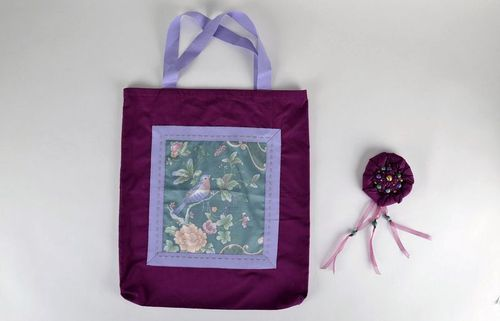 Womens handbag with floral inset - MADEheart.com