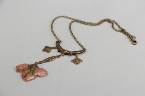 Necklace with epoxy rasin Bougainvillea - MADEheart.com