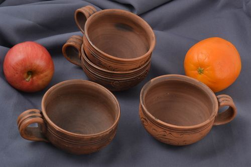 Handmade unusual ceramic cups beautiful coffee set designer stylish ware 4 items - MADEheart.com
