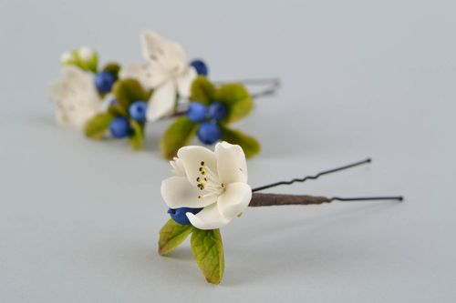 Hair pin made of self-hardening Thai clay Apple Bloom - MADEheart.com