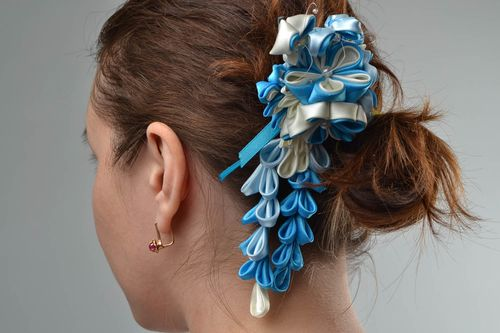 Beautiful handmade designer white and blue satin ribbon flower hairpin - MADEheart.com