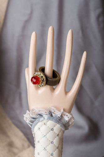 Handmade red stylish elegant massive ring made of brass with Czech crystal - MADEheart.com