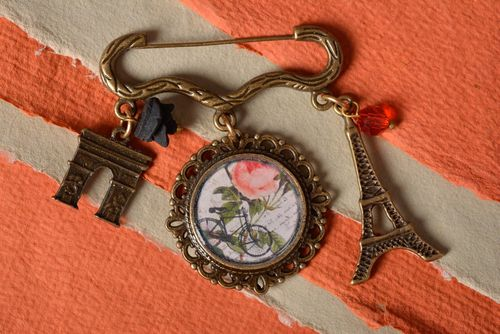 Womens handmade designer decoupage brooch with print and epoxy coating Paris - MADEheart.com