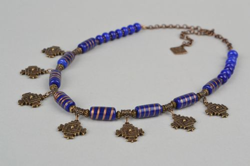 Handmade bronze necklace with lampwork glass beads in ethnic style charm - MADEheart.com