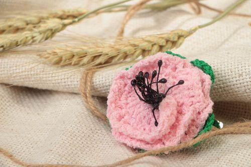 Crocheted handmade hairpin elegant pink hair accessory for children and adults - MADEheart.com