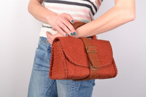 Handmade small satchel bag of brown color felted of wool for women - MADEheart.com