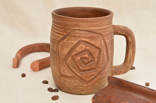 Clay cup handmade eco friendly mug with pattern ceramic mug kitchen pottery - MADEheart.com