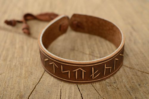 Brown leather designer wrist bracelet - MADEheart.com