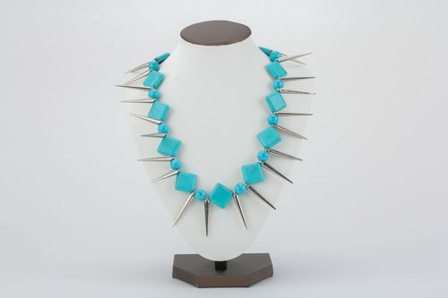 Turquoise necklace with spikes - MADEheart.com