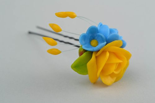 Little hairpin made of polymer clay yellow with blue handmade hair accessory - MADEheart.com