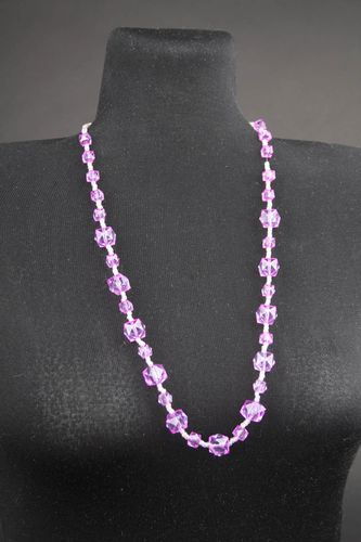 Handmade pink thin jewelry stylish designer necklace beaded elegant necklace - MADEheart.com
