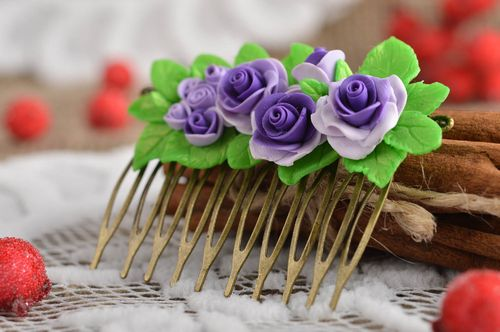 Handmade polymer clay comb flower hair accessory stylish hair comb gift - MADEheart.com