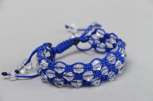 Handmade blue friendship bracelet with synthetic thread and faceted glass beads - MADEheart.com
