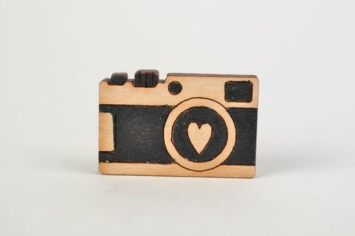 Handmade wooden brooch painted with acrylics Photo Camera present for girl - MADEheart.com