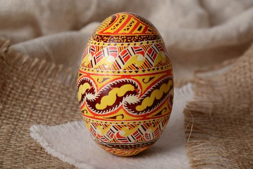 Homemade designer decorative Easter egg pysanka painted with wax and aniline dyes - MADEheart.com